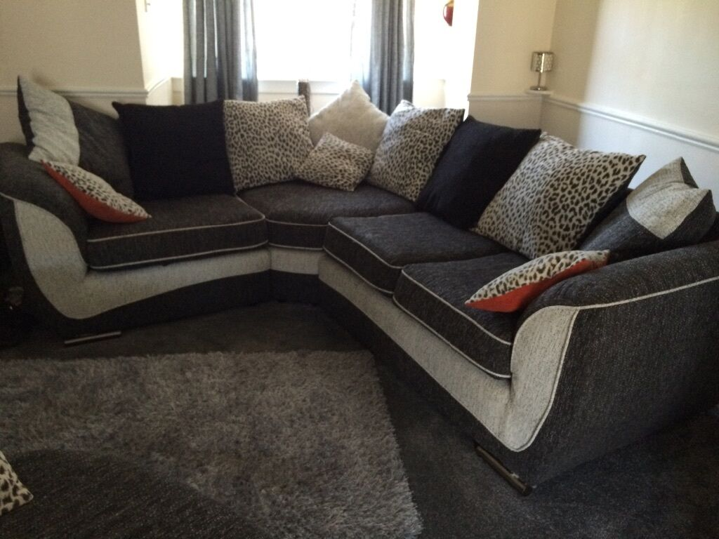 Storm Left Corner Sofa... Black Grey And Animal Print Cushions .cost £