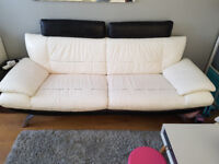 black and white leather sofa set