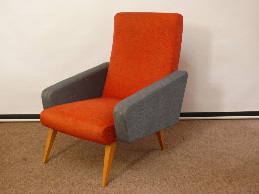 Vintage Retro Danish Armchair 60s 70s Sprung Cocktail Chair Splayed Tapered  Legs