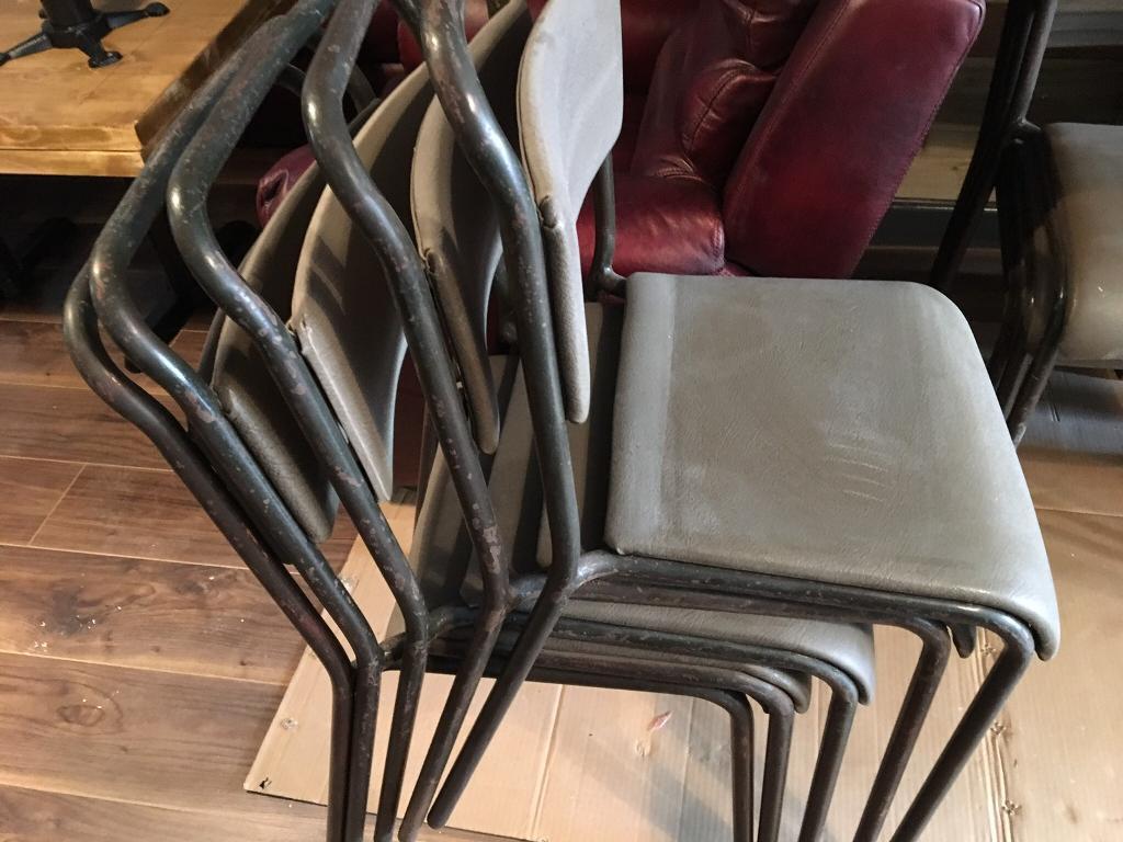 Industrial Vintage Metal Stacking Chair Price Each