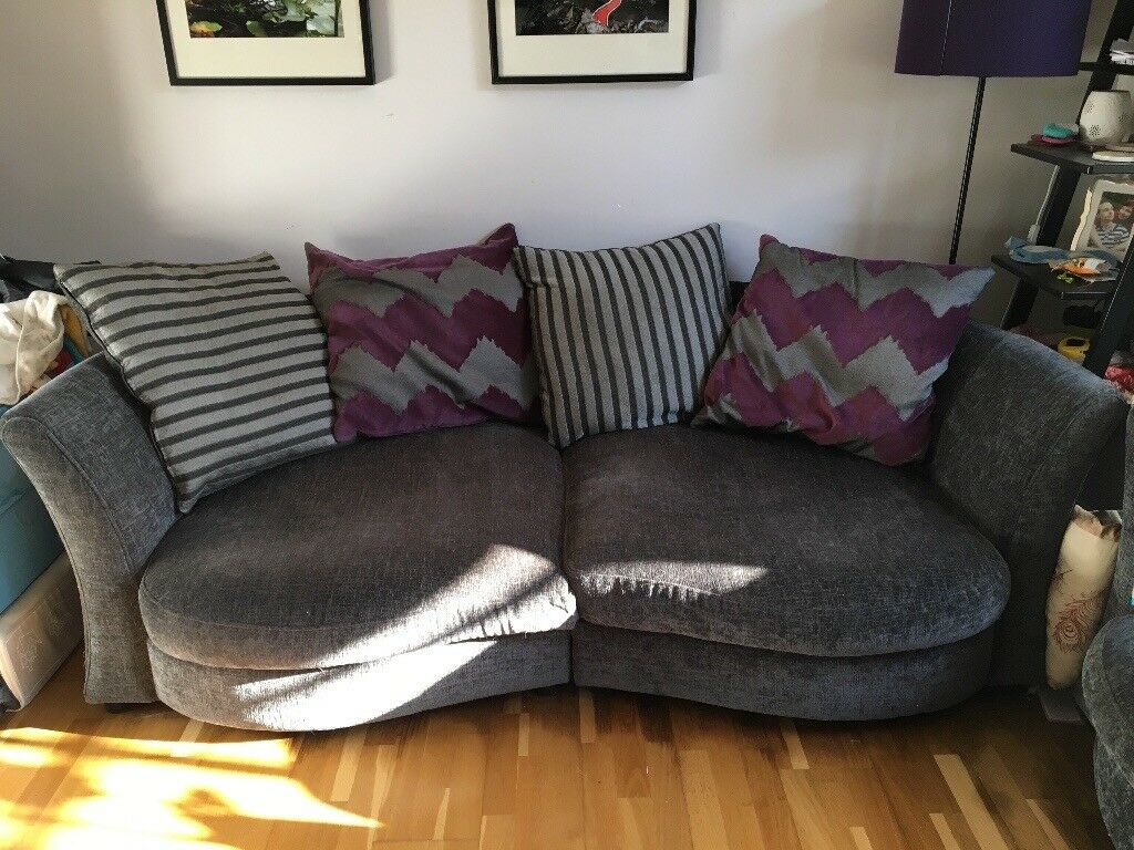 Large Grey Sofa With Purple Cushions. Open To Offers