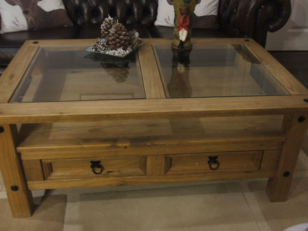 CORONA, GLASS TOP, 2 DRAWER COFFEE TABLE (in Good Used Condition),