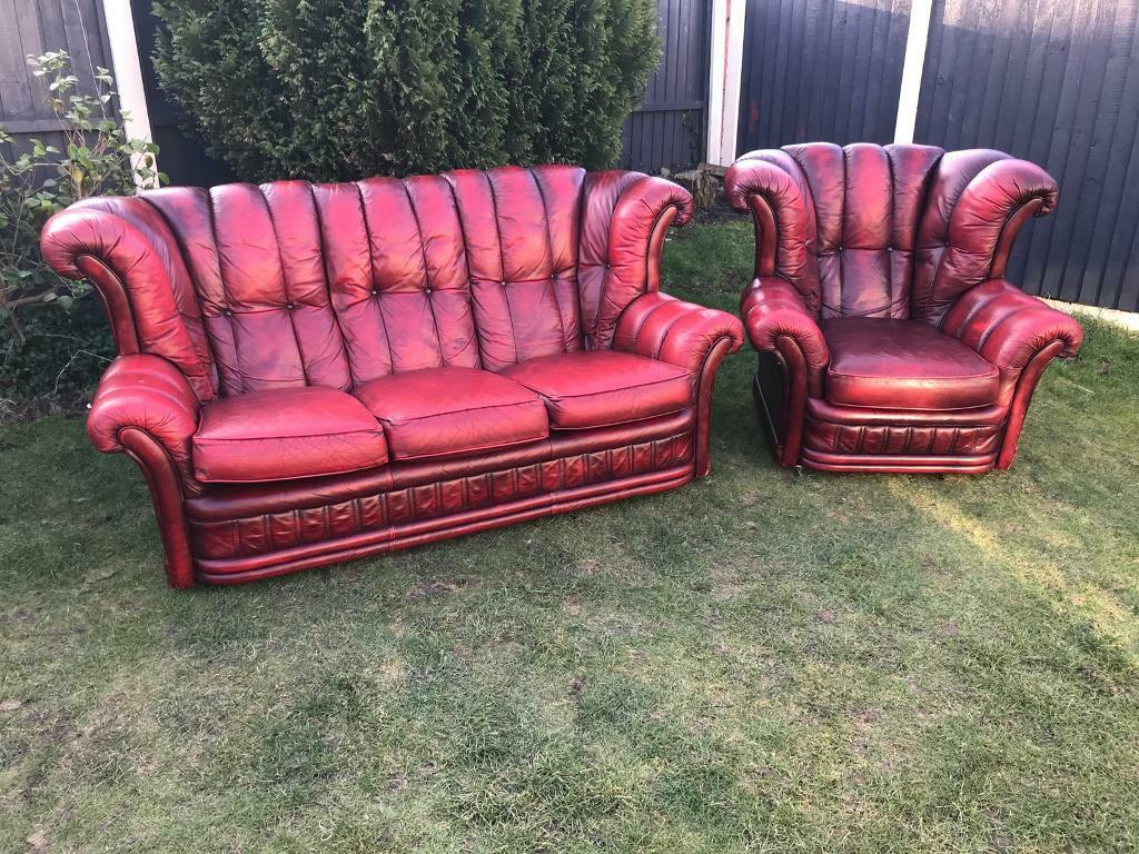 Vintage Wing Back Deep Button Chesterfield Sofa Set Can Deliver Today Great Pictures
