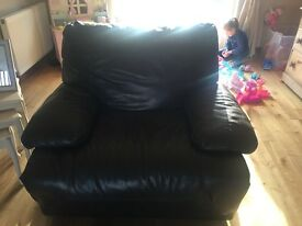 leather seater sofa and chairs
