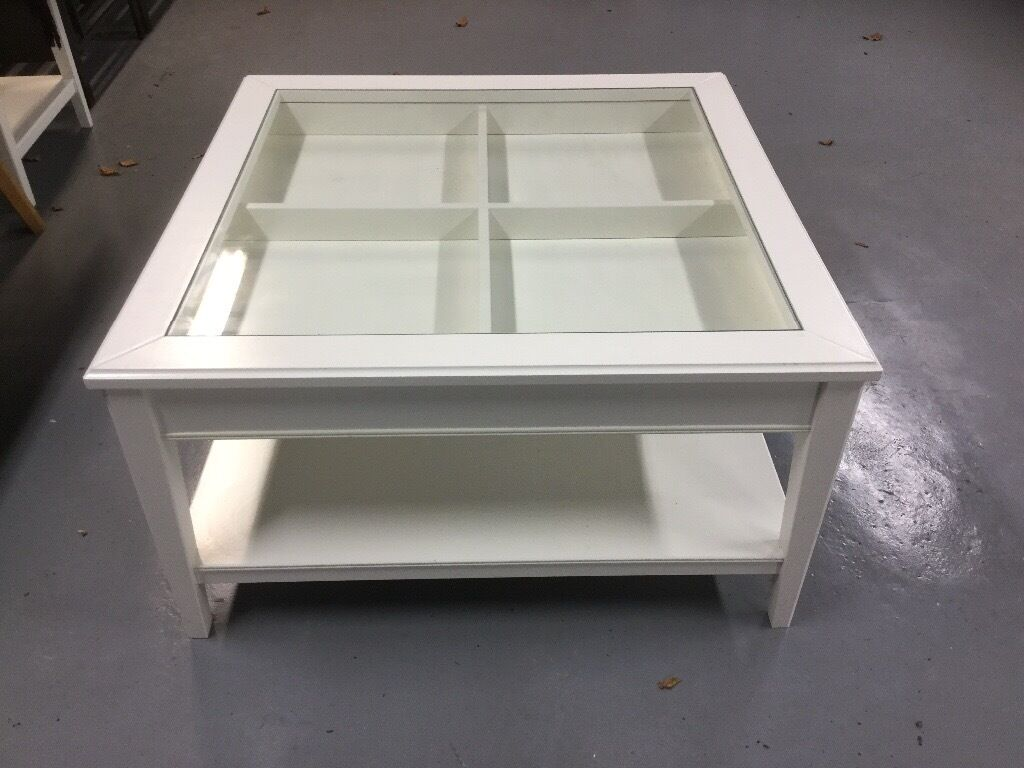 Marvelous Ikea Liatorp White Glass Top Square Coffee Table In Ware
