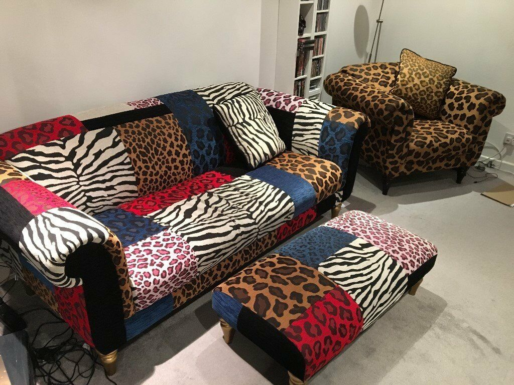 3 Piece Suite Sofa Chair Leopard Animal Print Urban Punk Rock Star Retro  Chic