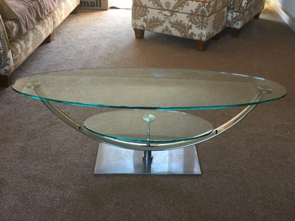 Chrome U0026 Glass 2 Shelf Swivel TV Table