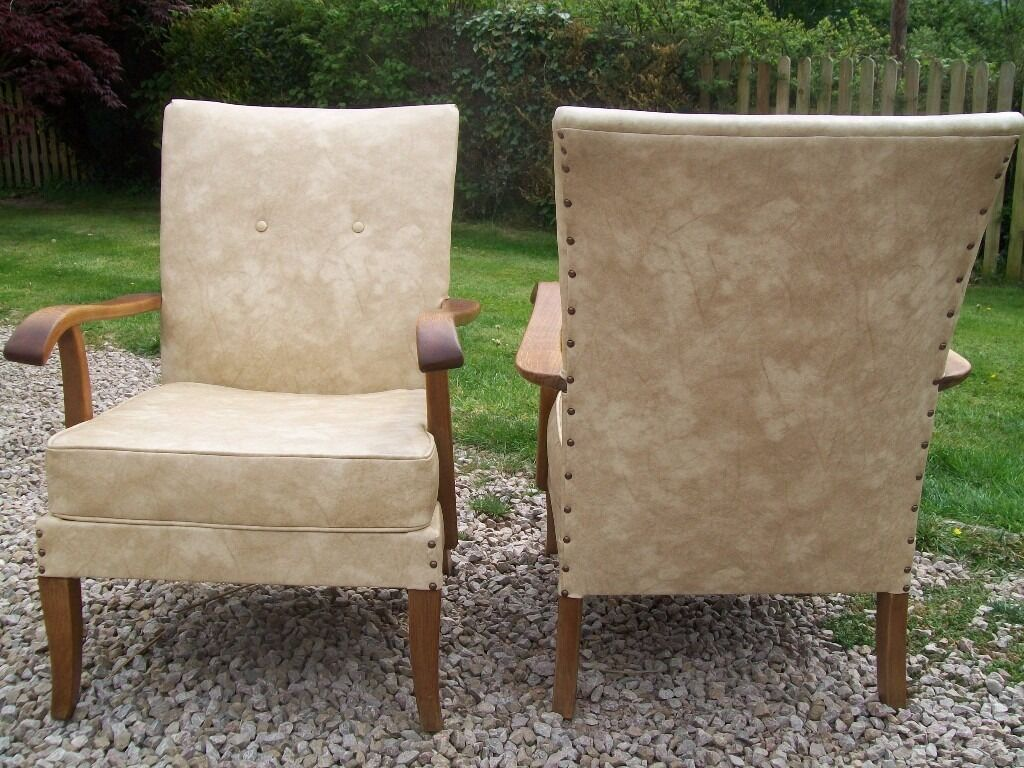 Vintage Pair Parker Knoll Chairs   Model PK717