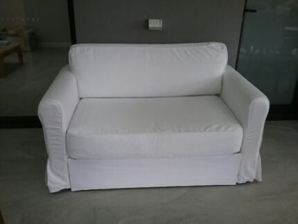 White Sofa Bed, Hallway Table And Side Table