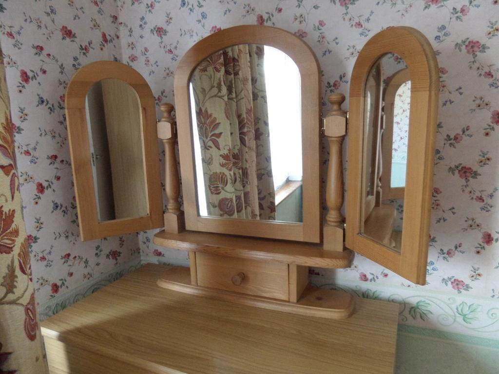 Pine 3 Way Mirror With Drawer.