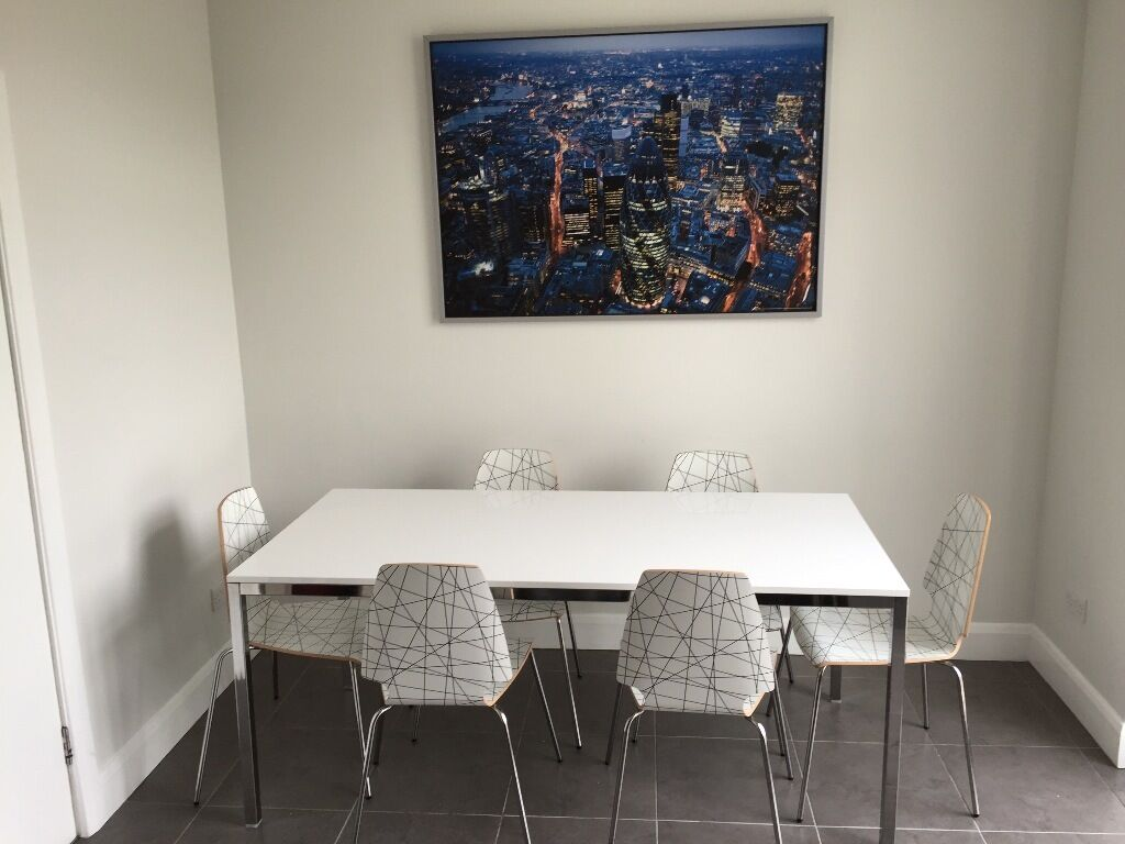 Lovely Ikea Torsby Table And 6 White Pattern Vilmar Chairs. Less Than 12 Months  Old And
