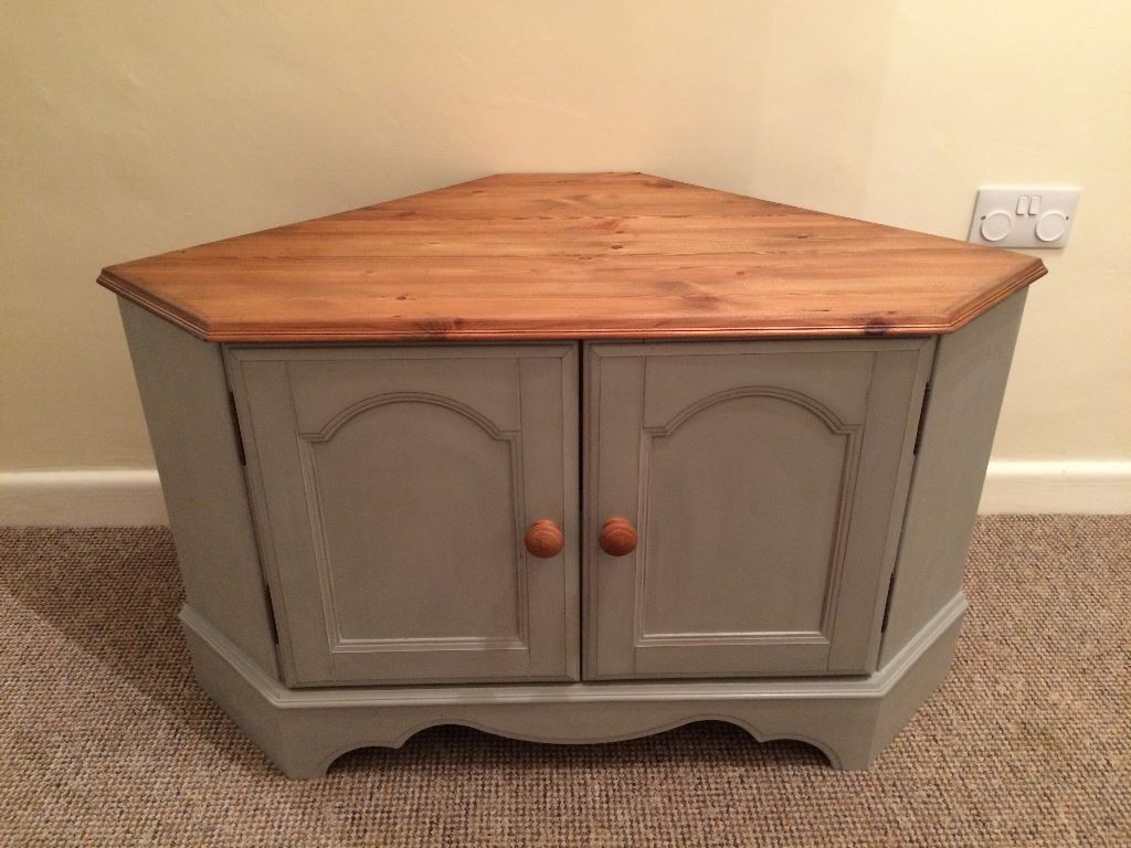 Wooden Corner TV Cabinet Newly Refurbished Paris Grey Shabby Chic Now  Looking