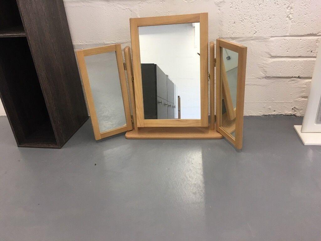 Merveilleux Dressing Table 3 Way Mirror, Beech Finish Frame, New, Centre Mirror Tilt,
