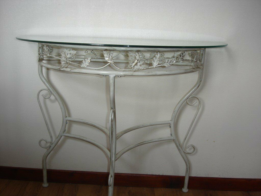 STUNNING MODERN WROUGHT IRON U0026 GLASS FRENCH STYLE HALF MOON CONSOL HALL  TABLE