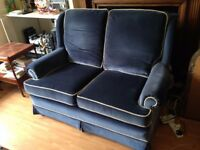 designer quality twoseater velvet blue sofa and two matching armchairs
