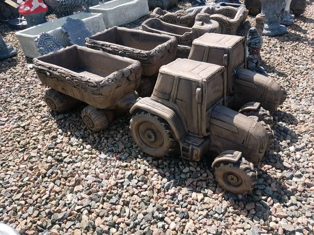 Tractor And Trailer Concrete Garden Ornaments
