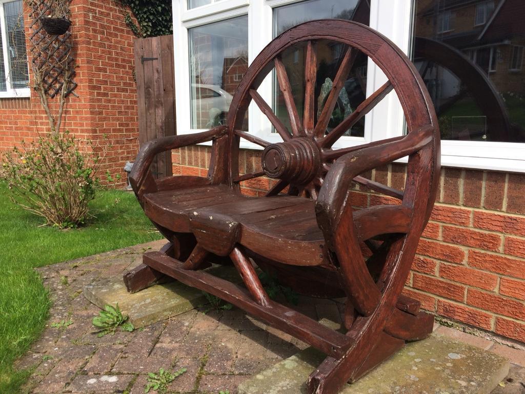 Wood And Iron Wagon Wheel Garden Bench