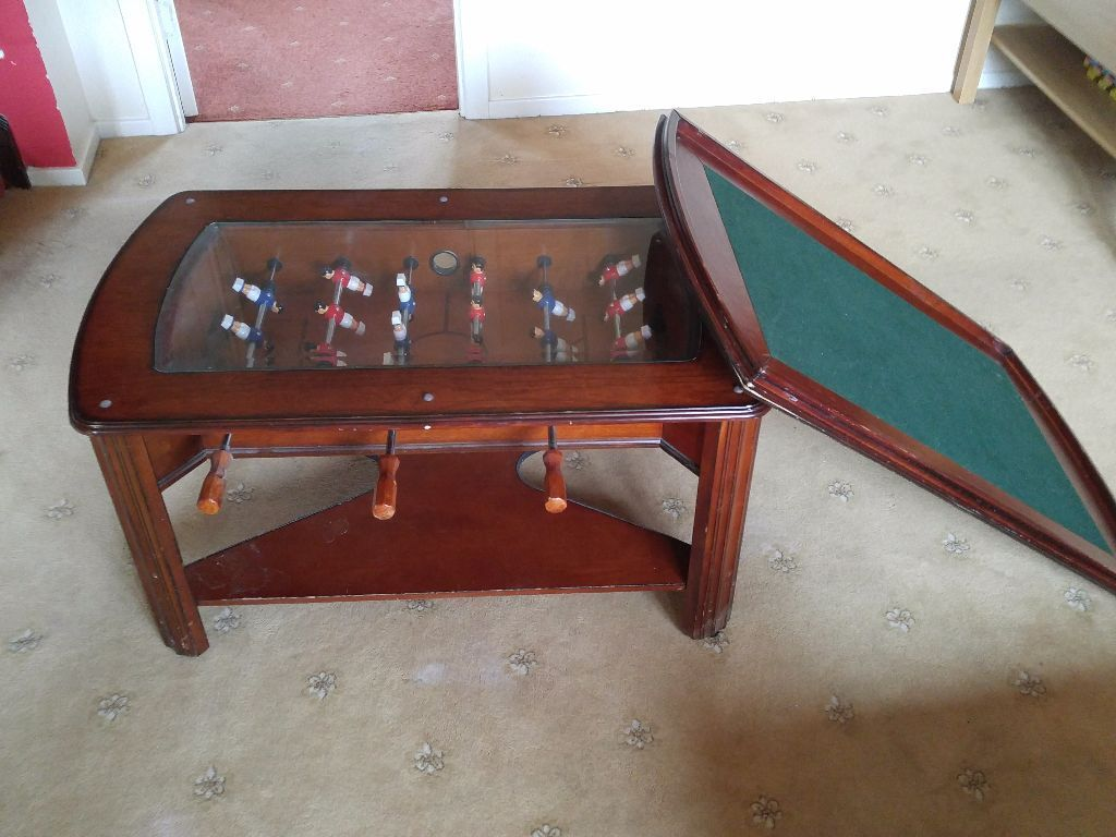 Wooden Games Coffee Table With Table Cover Football Game Cards