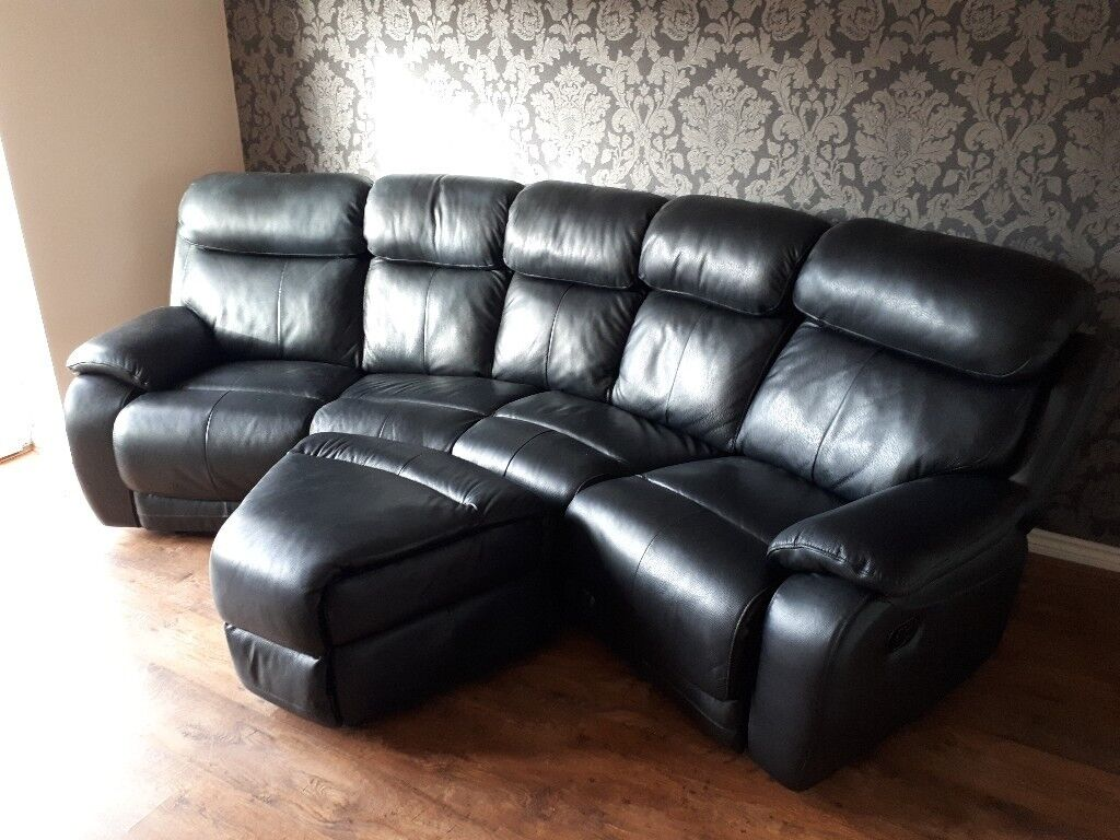 DFS Daytona 4 Seater Leather Recliner Sofa And Storage Footstool