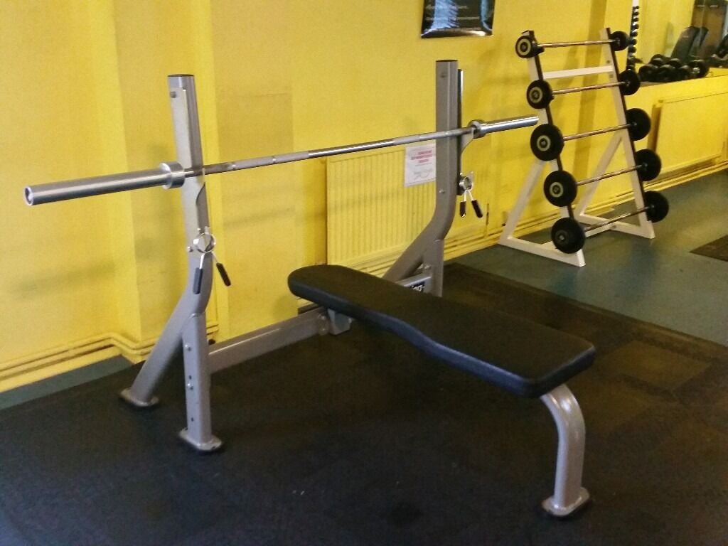 Elegant EXIGO OLYMPIC BENCH PRESS + 20Kg PHYSICAL COMPANY OLYMPIC BAR COMMERCIAL  GRADE KIT £350