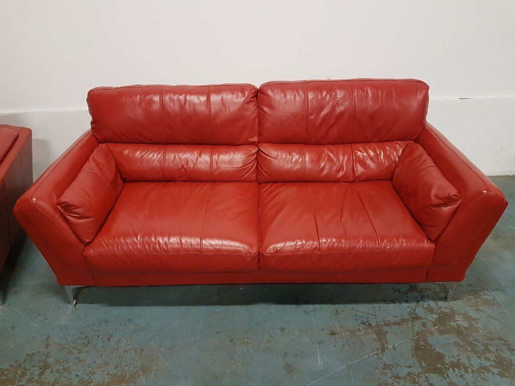 modern red leather lounge suite 3 seater sofa settee armchair on chrome legs delivery available