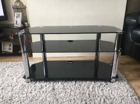 black and silver tv stand good condition