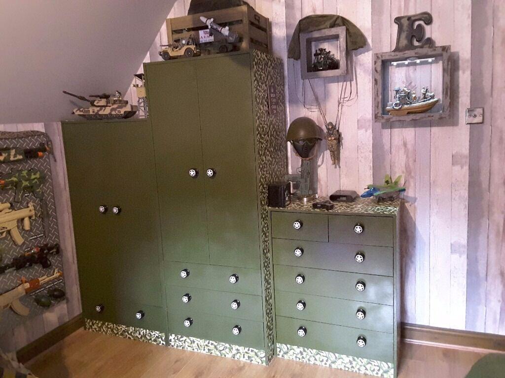 Army Bedroom Furniture + Accessories. Wardrobe, Drawers, Storage Cupboard,  Camo Net,
