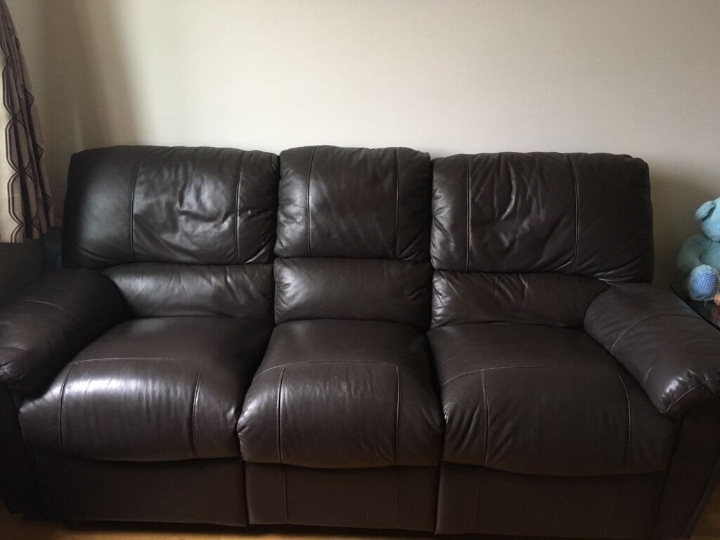 Harveys Santiago Brown Leather 2 3 Seater Recliner Sofas In