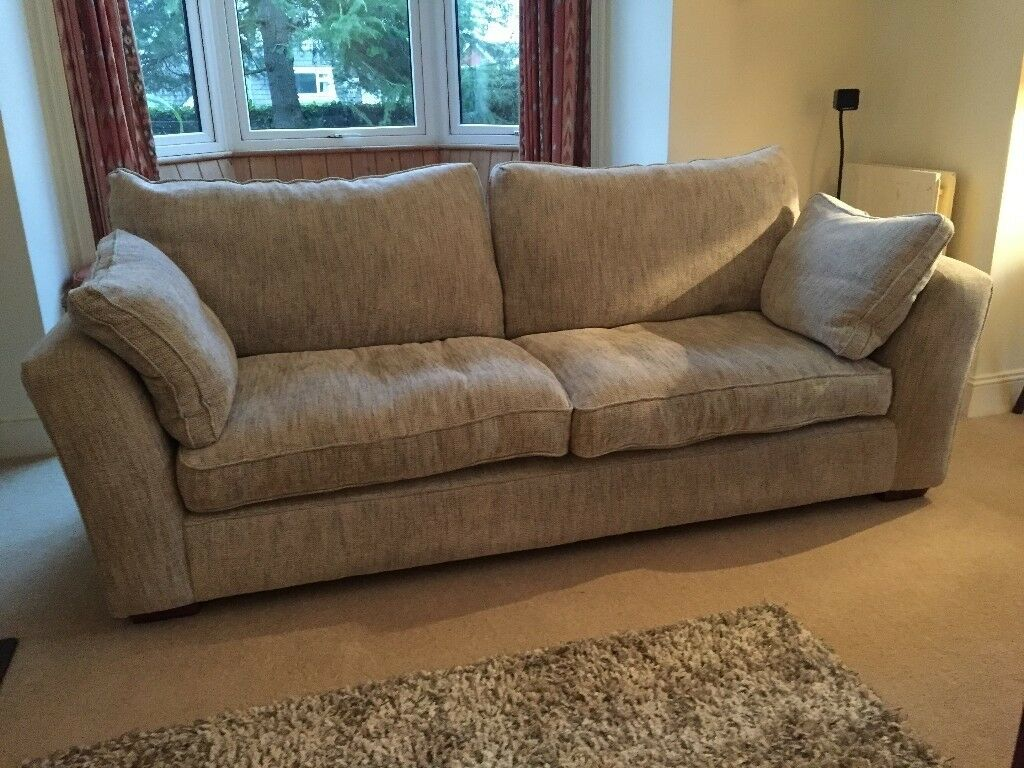 3 Seater Spacious Sofa Otto Style From Furniture Village All Feather  Cushions Chenille Grey