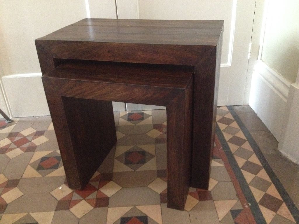 Solid MANGO Dark Wood Nest Of Two SIDE TABLES