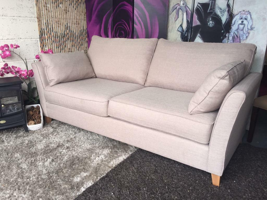 New Furniture Village High Bond Street 3 Seater Fabric Sofa In Salta Oyster