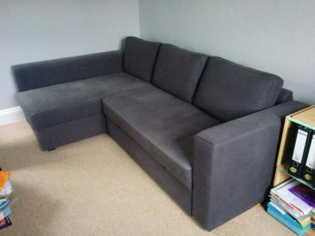 Superb IKEA Manstad Corner Sofa / Sofa Bed, Dark Blue   Loads Of Storage, Super
