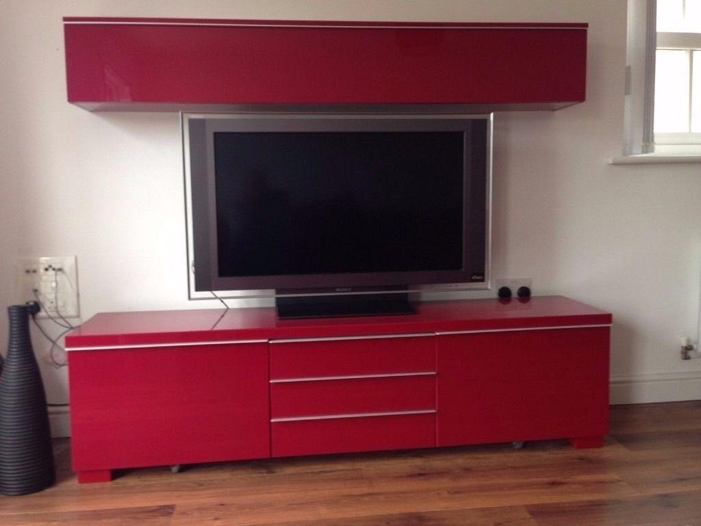 IKEA Besta Burs Gloss Red Tv Stand, Drawer Unit And Upper Media Storage.