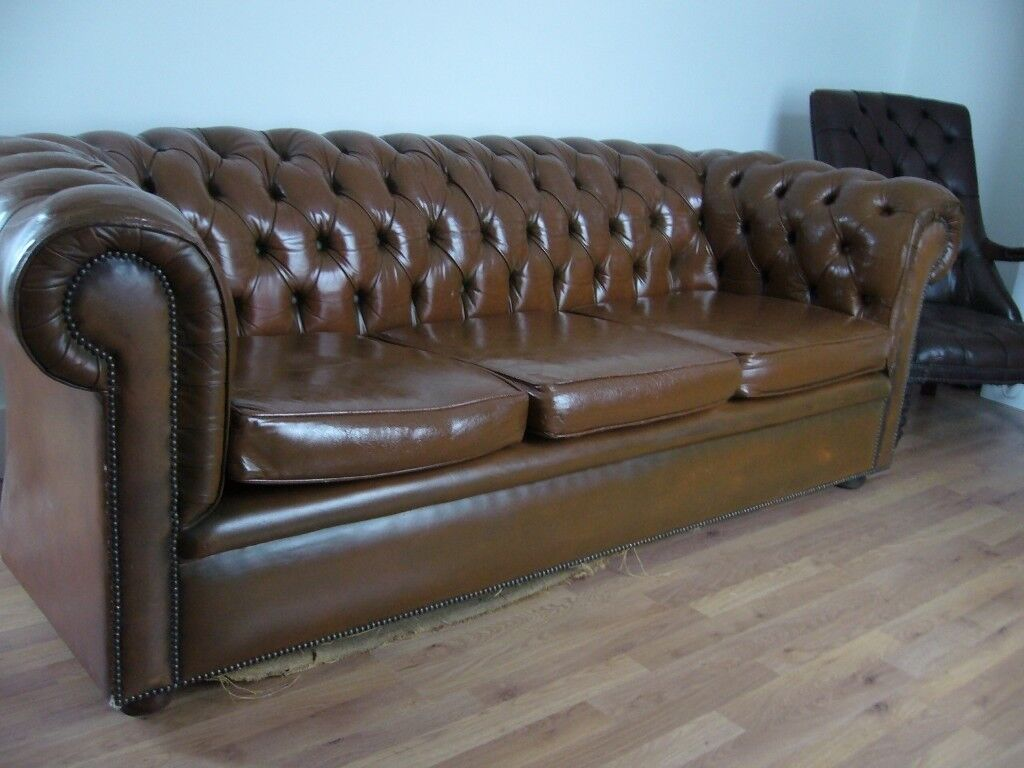 Antique Brown Tan Leather Chesterfield Sofa Settee Button Back Vintage Retro