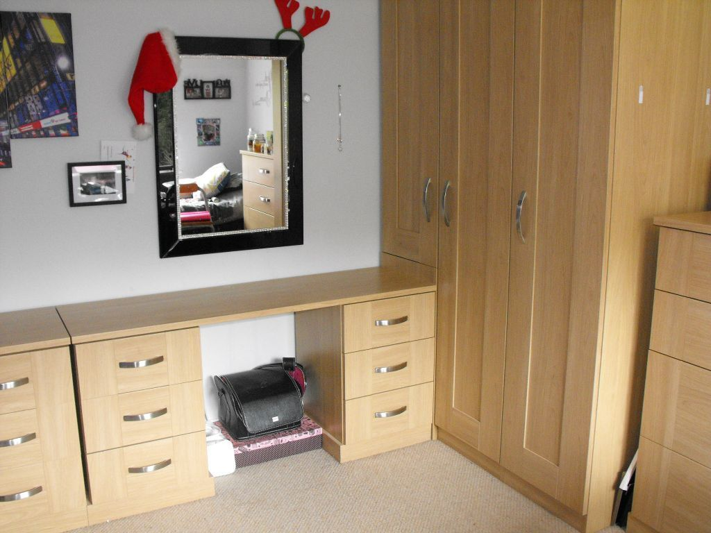 wardrobe and dressing table corner unit with chest of drawers and 2 bedside cabinets