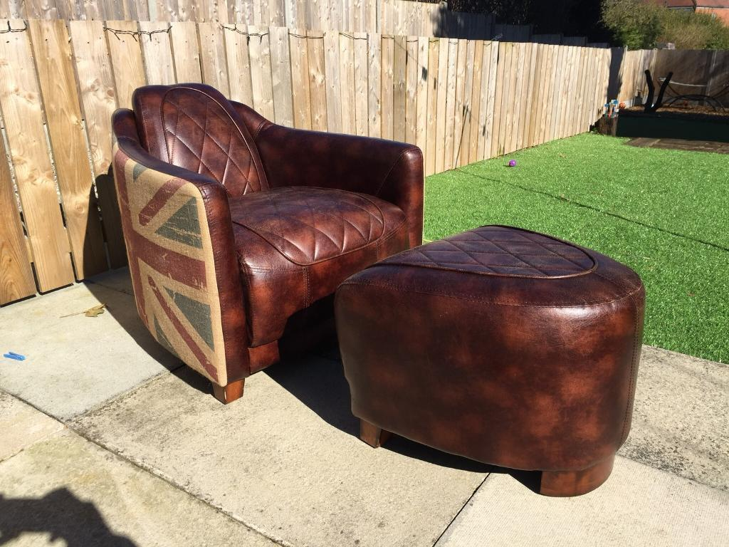 Union Jack Leather Tub Chair And Foot Stool (delivery Available)