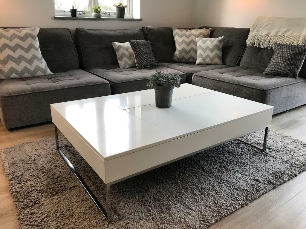 White Gloss Coffee Table   BoConcept Chiva Functional Coffee Table With  Storage