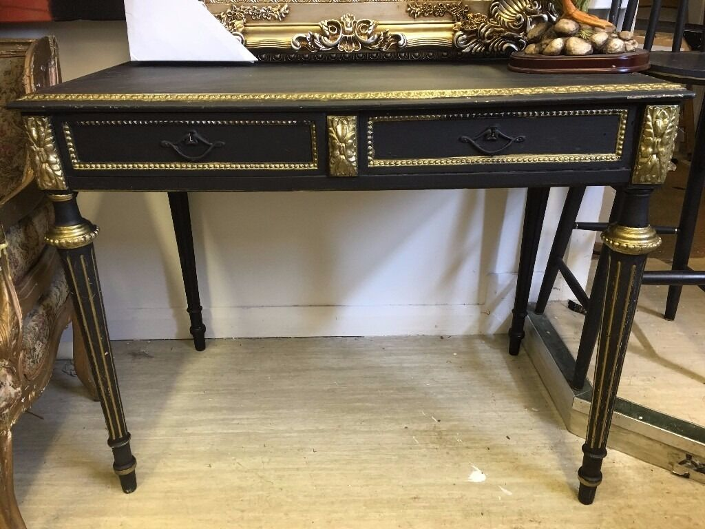 French / Ornate / Rococo Table   Hall Table   Black U0026 Gold   Fluted Legs