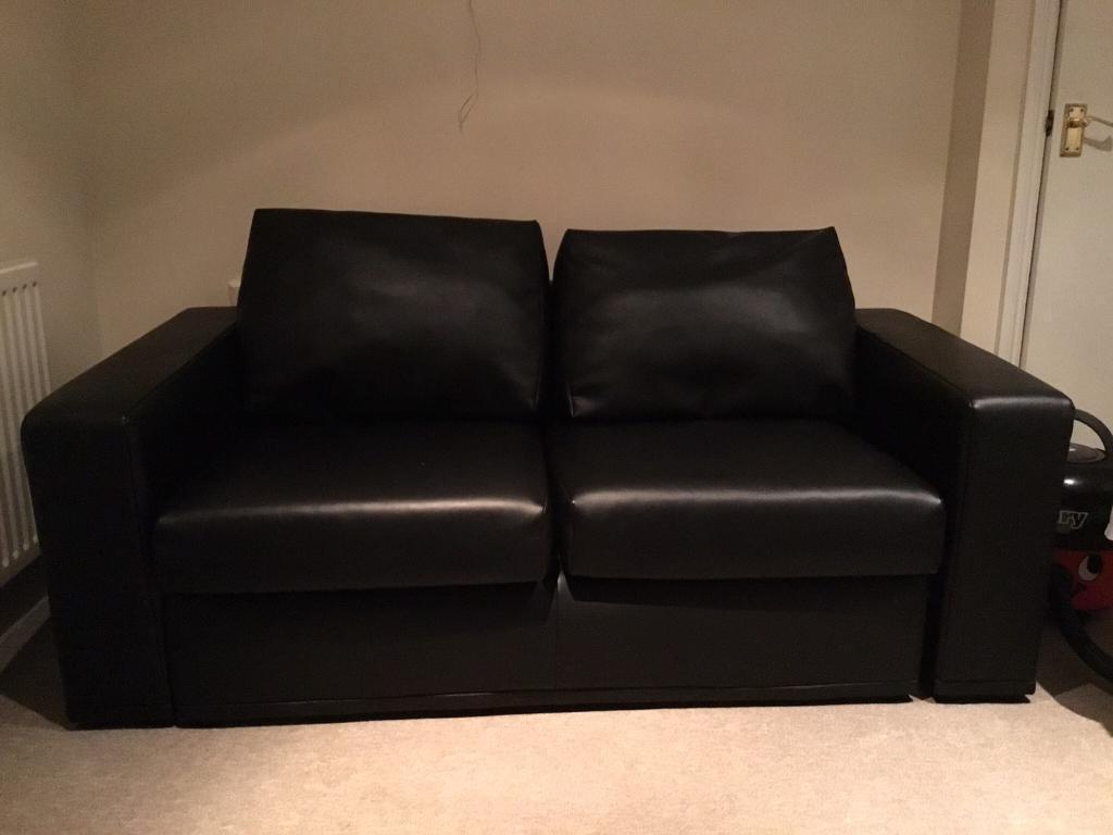 2 Seater John Lewis Black Leather Sofa
