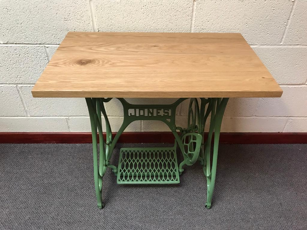 Jones Sewing Machine Table/cast Iron Base/oak Top/powder Coated/furniture