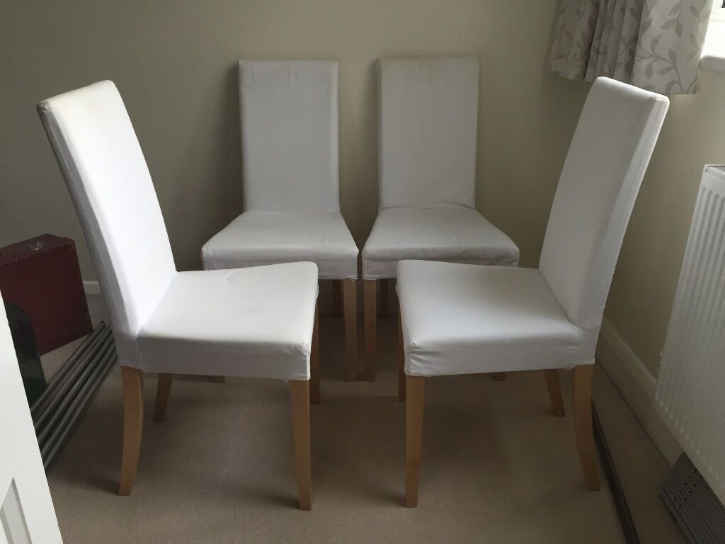 Charmant X4 Ikea Harry Dinning Chairs, Birch Legs, Blekinge White Seats, £40.