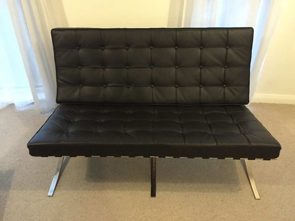 Dwell Barcelona Style 2 Seater Sofa And Single Chair Black Leather