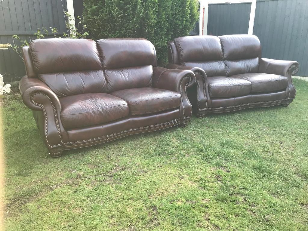 Chesterfield Style Chestnut Antique Leather Sofas Immaculate Can Deliver