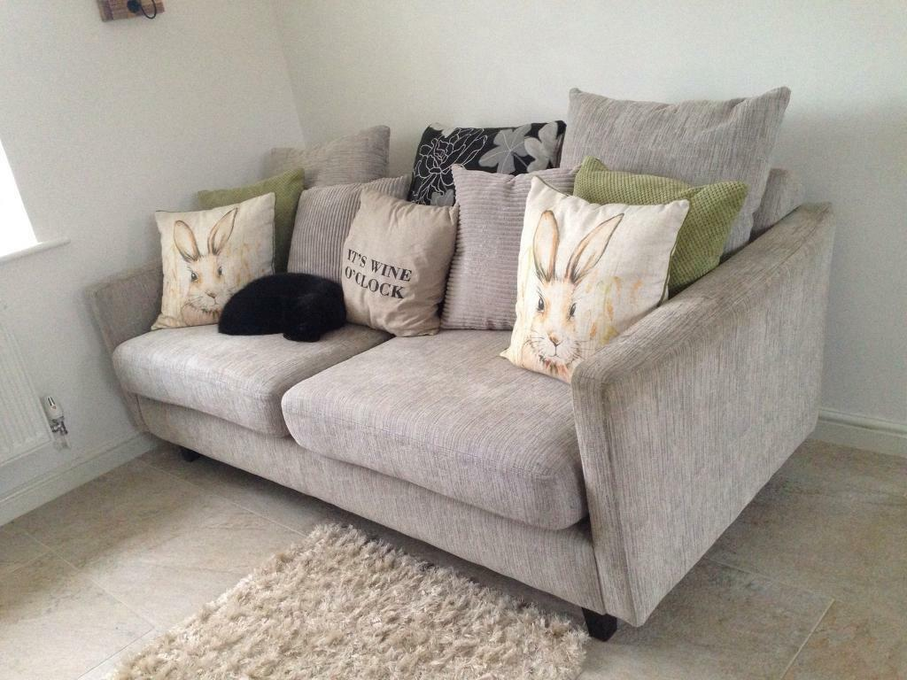 Dove Grey Sofa With Matching Armchair