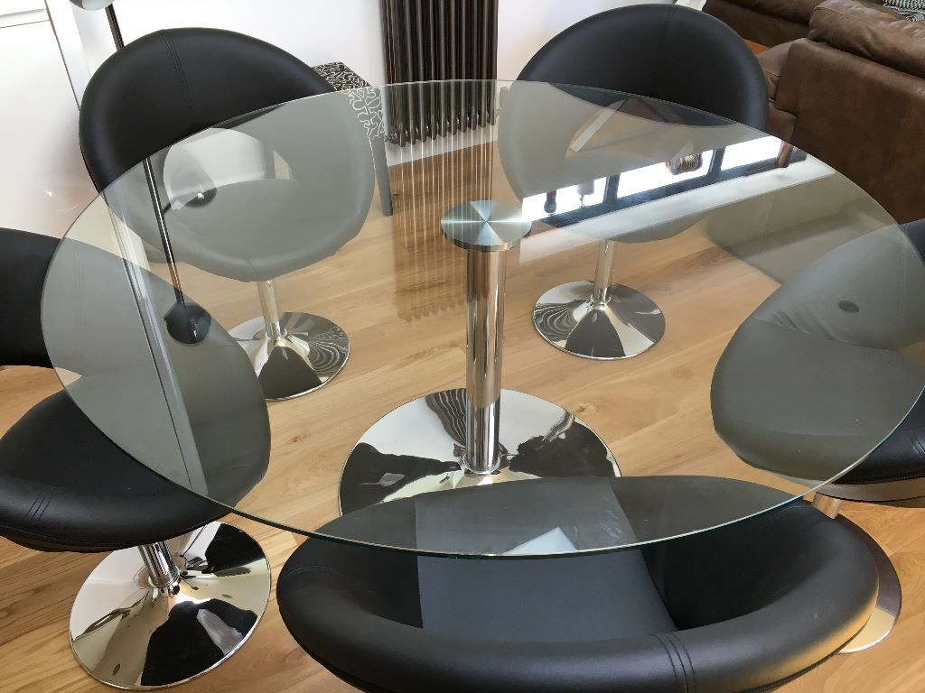 GLASS DINING TABLE U0026 6 BLACK LEATHER CHAIRS. Dwell Palermo Table 150cm  Diam. Retro