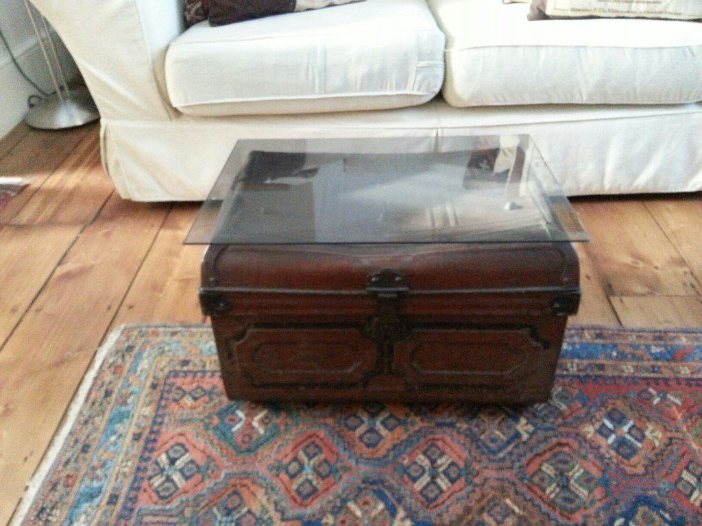 Perfect Vintage Metal Trunk / Coffee Table