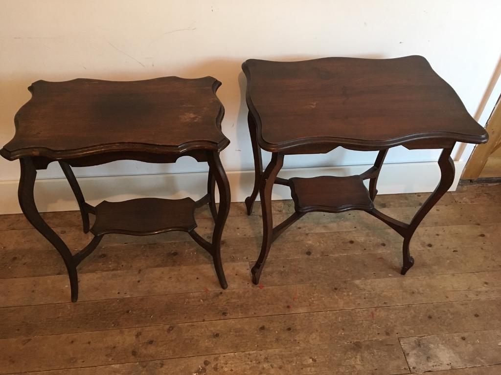 2 Antique Mahogany Tables. Image 1 Of 6