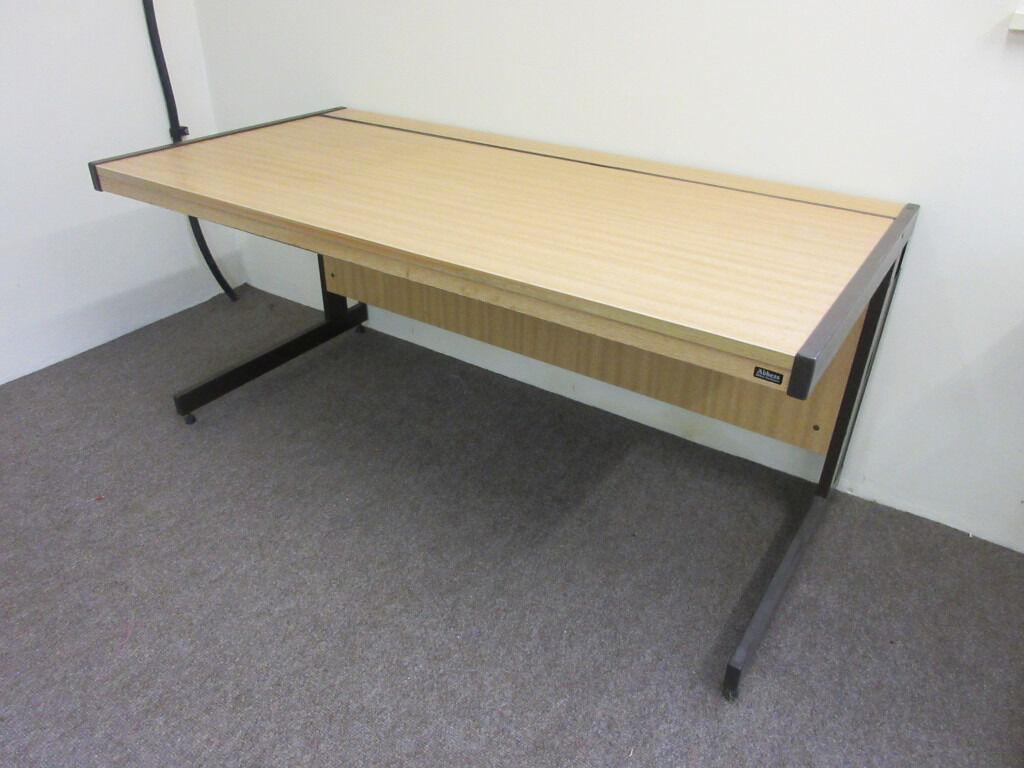 Large Commercial Office Desk 160cm X 80cm Abbess Heavy Duty Light Wood  Colour