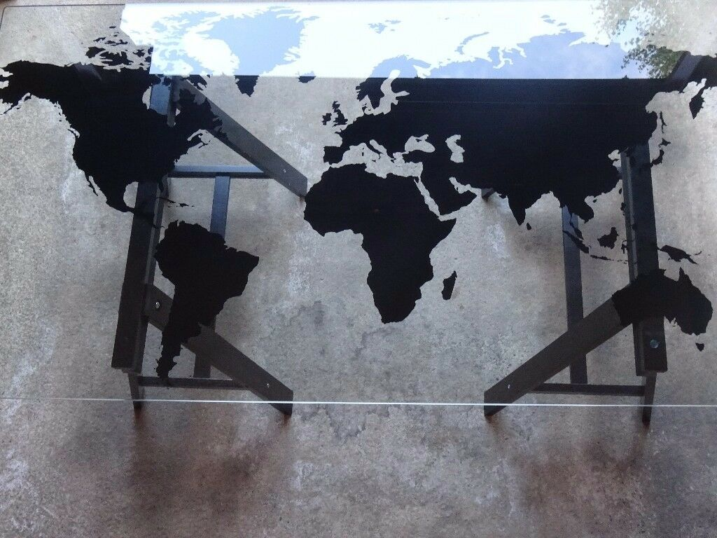 Fabulous Ikea Glass World Map Table Office Or Dining