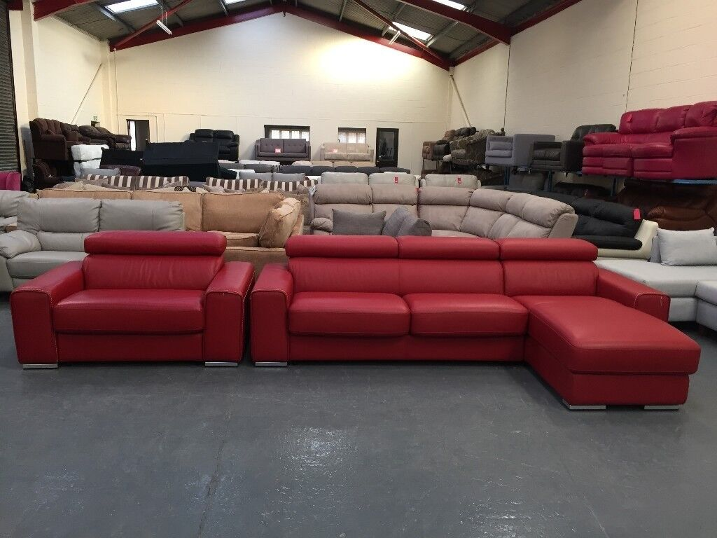 Kalamos red leather 3 seater chaise sofa bed and cuddler chair sofa bed : 3 seater chaise sofa bed - Sectionals, Sofas & Couches
